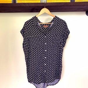JACHS Girlfriend Navy & White Geometric Blouse XL